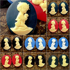 40x30mm Resin Cabochons little boy girl characters wholesale Vintage Style Cameo