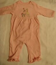 GYMBOREE Brand New Baby Girls 0-3 Month Pink One Piece Zebra Giraffe Outfit NWT