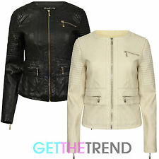 Womens New Faux Leather Quilted Biker Jacket Full Sleeve Zipped Slim Fit Jacket
