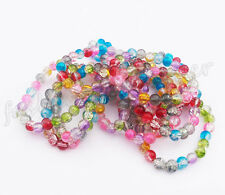 Wholesale 20/100pcs Mixed Color Acrylic Crack Glass Round Loose Spacer Beads 8mm