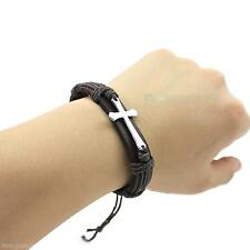 Men's Jewelry Retro PU Leather Hemp Weave Cross Alloy Wrap Wrist  Band Bracelet