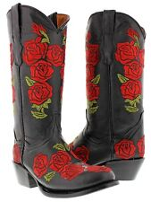 Womens black red embroidered western leather cowboy cowgirl boots flowers round