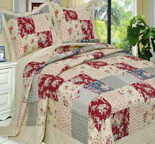 COUNTRY COTTAGE Patchwork LIGHTWEIGHT REVERSIBLE Quilt COVERLET Set OVERSIZED