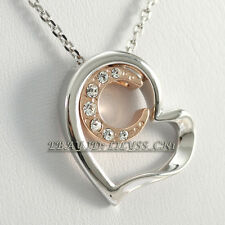A1-P461 Fashion Heart & Moon Pendant Necklace 18KGP Swarovski Crystal