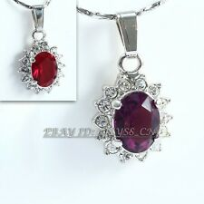 Fashion Simulated Gemstone Necklace Pendant 18K GP Rhinestone Crystal