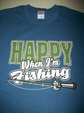 Happy When Im Fishing T Shirt Catch Bass Trout Catfish Fly Rod Bait Lake Angler