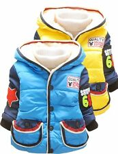 Kids Baby Boys Winter Stars Casual Jacket Toddlers Plain Snoesuit Coat Size 0-3Y
