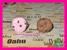 Chocolate Chip Pink Cookie Adjustable Silver Plated Kawaii Kitsch Ring GIFT BOX