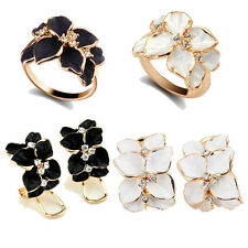 Fashion Women Lady Enamel Flower Crystal Gold Alloy Nickel-Free Cute Ring Size 7