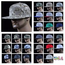 Men's Baseball Cap Camouflage Snapback Flat Bill Plain Solid Hat Unisex Ball Cap