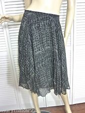 NWT $159 RALPH LAUREN SKIRT 10/14/16 BLACK/GRAY PLEATED SNAKE PRINT 100% SILK