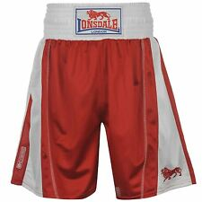 Lonsdale Performance Boxing Trunks Shorts Mens Red/White Fight Short Sportswear