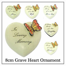 8cm Butterfly Heart Ornament For Head Stone Grave Memorial- Mum Dad Nan Sis Son