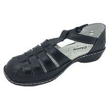 Ladies Shoes Leather Sandals Cherry Accra Black TBar Buckle Up Size 6-9