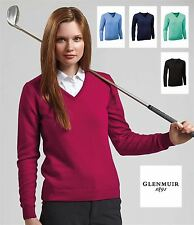 Glenmuir Golf Ladies V Neck Lambswool Sweater Womens Casual Fashion Jumper Top