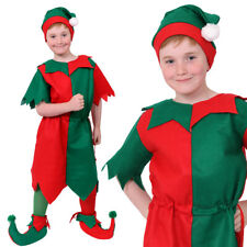 BOYS CHRISTMAS ELF COSTUME CHILDS XMAS FANCY DRESS WITH HAT SANTAS LITTLE HELPER