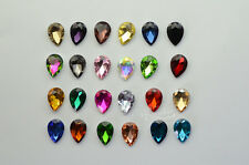 100 PCS 6mm x 8mm Glass Color Tear Drop Faceted Glass Jewels