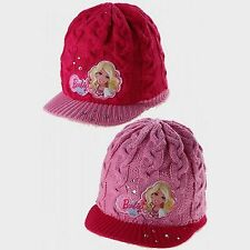 Girls Barbie Knitted Winter Hat, Cerise or Pink 52 & 54cm (3-6 Year & 7-10 Year)