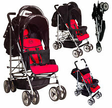 DUO Double pushchair Tandem Twin Buggy stroller Newborn & Toddler umbrella fold
