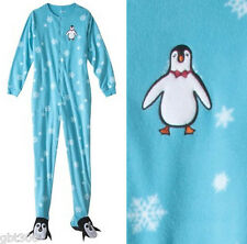 ADULT FOOTED Fleece Pajamas XL Penguin Snowflake Footie Feet Womens Sleeper