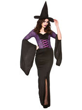 Ladies Alluring Long Witch Halloween Horror Gothic Fancy Dress Costume & Hat New