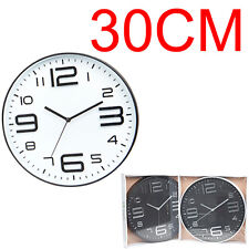33CM WALL CLOCK MODERN QUARTZ KITCHEN HOME LARGE NUMBERS ROUND HANGING BEDROOM