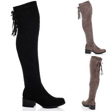 WOMENS KNEE HIGH BLOCK HEEL OVER KNEE TALL BOOTS SZ 3-8