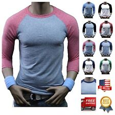 3/4 Sleeve Baseball T-Shirt Lot Tri- Blend Raglan Casual Slim Fit Crew Neck Tee