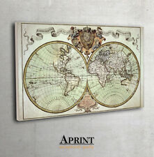 Antique world wall map, archival quality print, interior design, canvas wall art