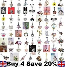 Belly Bars Crystal Dangle Reverse Body Piercing Jewellery Rings Navel Belly Bar