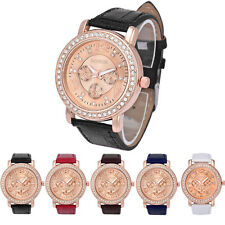 Geneva Women Fashion Luxury Rhinestone Crystal Analog Quartz Leather Wrist Watch