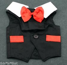 NEW DOG Clothes TUXEDO TUX VEST Wedding Jacket RED BOW TIE BLACK 4 SM BREED ALL
