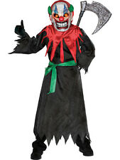 Child Scary Clown Outfit Fancy Dress Costume Halloween Circus Evil Mask Kids