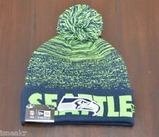 NEW ERA NFL SEATTLE SEAHAWKS BLUE FADE CUFF POM KNIT BEANIE HAT ONE SIZE ADULT