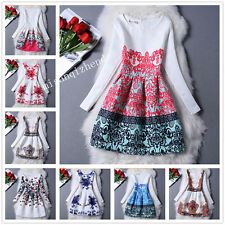 New Long sleeve Womens TuTu Dress Vintage Digital Evening Party Print Dresses