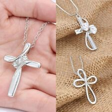Xmas Elegant Silver Crystal Cross Chain Pendant Women Necklace Jewellery Gifts