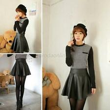 Sexy Lady Girl Slim High Waist Mini Skirt Faux Leather Solid Pleated Short Skirt