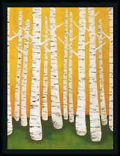 Autumn Birches Lisa Contemporary Tree Framed Art Print Wall Décor Picture 36x27