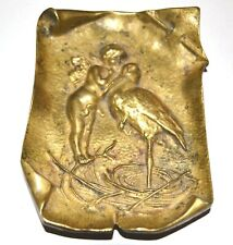 ANTIQUE BRONZE VISITING CARD TRAY ANGL WITH STORK ART NOUVEAU AUSTRIA c1900