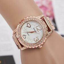 Womens Ladies Stainless Steel Rhinestone Crystal Dial Analog Quartz Wrist Watch