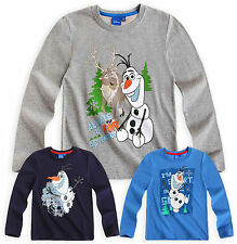 Boys Disney Frozen Olaf T Shirt Kids Long Sleeve Tee Top New Age 3 4 5 6 8 Years