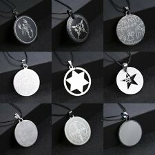 Stainless Steel Punk Men Unisex Jesus Cross Star Leather Pendant Necklace Gifts