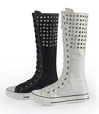 Womens Canvas Flat Sneakers Lace Up Knee High Rivet Boots