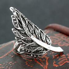 Boho Style Eternal Silver Punk Feather shape Stainless Steel Skull Ring # 8-11