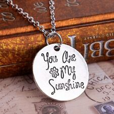 """Handmade Letter """"You Are My Sunshine"""" Round Silver Love Pendant Necklace Chain"""