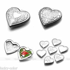 Silver Plated Lovely Heart Friendship Photo Frame Locket Pendant Diy Necklace