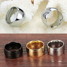 New Pretty Unisex Titanium Steel Wedding Engagement Ring Band 12mm Width US Size