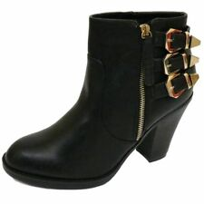 LADIES BLACK EX-DESIGNER ZIP-UP ANKLE BIKER BUCKLE HEEL BOOTS SHOES SIZES 3-9