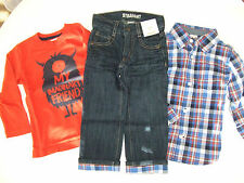 NWT Gymboree EVERYDAY ALL-STAR 2T 3T 4T 5T 3 Pcs Monster Tee Plaid Shirt & Jeans