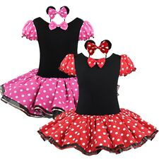 Kids Girls Minnie Mouse Princess Birthday Party Outfit Dress Red Dot Costume
